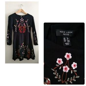 New Look Embroidered Black Long Sleeve Mini Dress